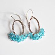Apatite Hoop Earrings- Silver Chandelier Dangle Drop Earrings-Wedding Accessories- Bridal Jewelry