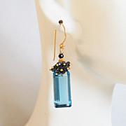 Gorgeous London Blue Quartz And Black spinel Cluster Dangle Drop Earrings -Blue Earrings