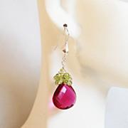 Hot Pink Rubelite And Peridot Cluster Dangle Drop Earrings - Wedding Jewelry - Bridal Jewelry