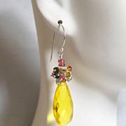 Yellow quartz Pear Briolette and Multi Tourmaline cluster Dangle Drop Earrings-Yellow Earrings