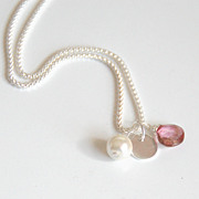 Mystic Pink quartz, cultured Freshwater Pearl, Sterling Silver Disc Pendant necklace with sterling silver chain- Bridesmaids Necklace-Wedding Jewelr