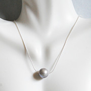 Cultured Fresh Water Grey Pearl Pendant Necklace on Sterling silver Beading Chain -Wedding Jewelry- Bridal Accessories- June Birthstone Necklace
