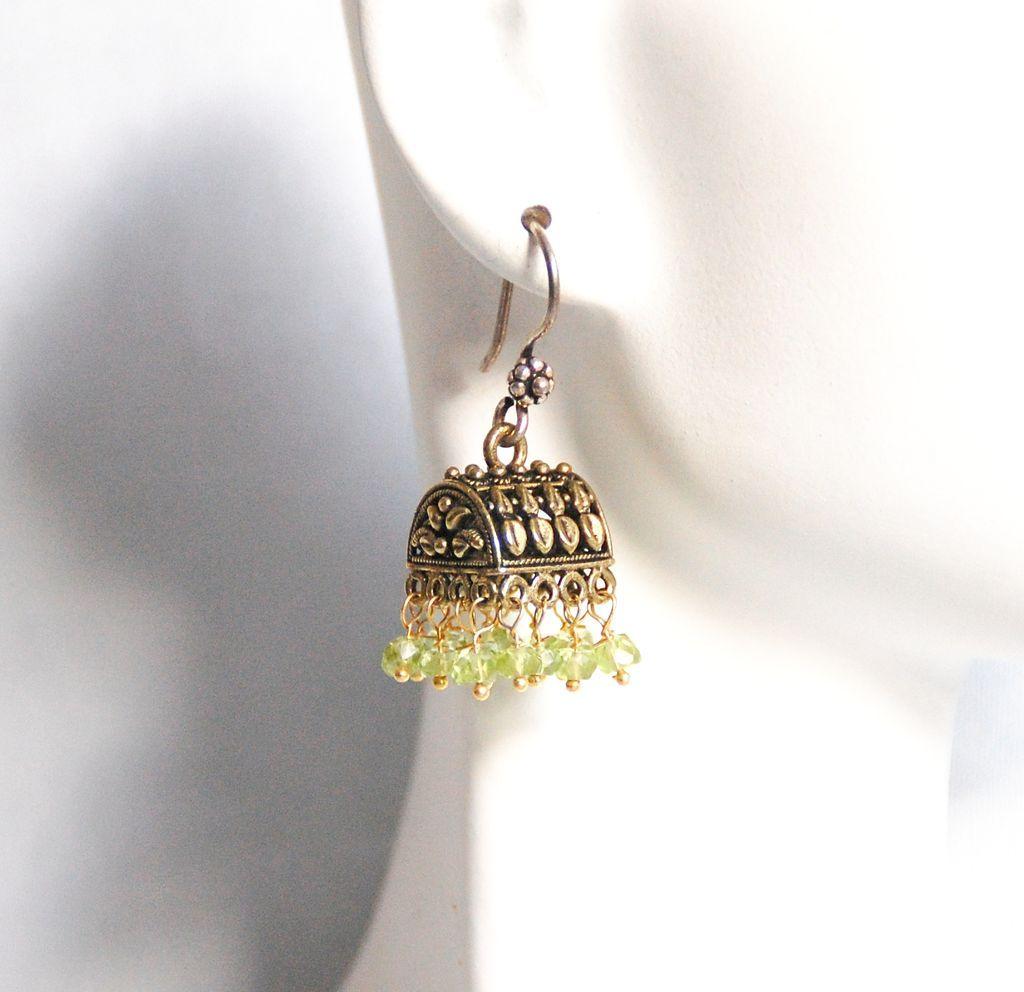 Peridot Chandelier Earrings: Chandelier Earrings - Peridot Chandelier Earrings - Jhumka Earrings- Green  Chandelier- Dangle Drop Earrings,Lighting
