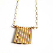 Bar Necklace- gold filled Necklace With Gold Plated Square Stick -Pyrite- Modern Necklace- Wedding Necklace- Bridal Accessories