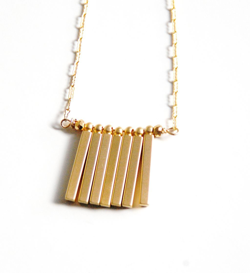 Bar necklace gold filled necklace with gold plated square for Gold filled jewelry