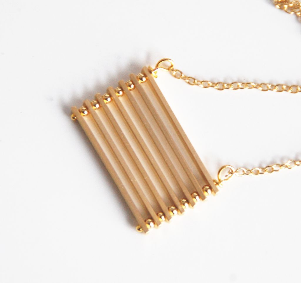 Bar Necklace- gold filled Necklace With Gold Plated Bar- Modern from ...