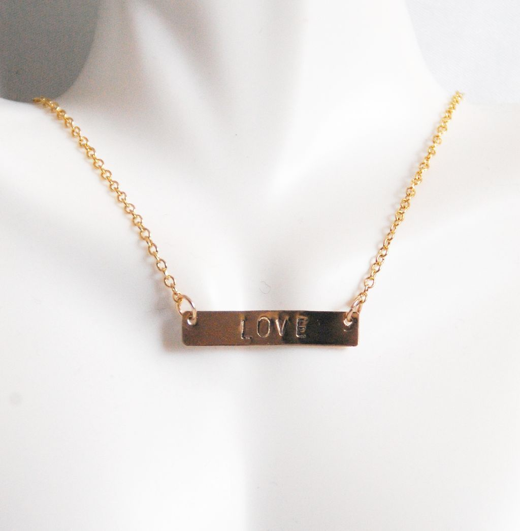 stamped Bar Necklace- Bar Necklace- gold Necklace- Wedding Jewelry ...