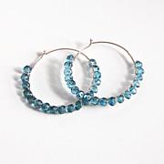 Mystic London Blue Topaz sterling silver hoop earrings-Hoop Earrings -Wedding jewelry- Bridal Jewelry- Valentine's Day-Bridal Accessories