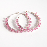 Mystic pink Quartz Sterling Silver Hoop Earrings-Hoop Earrings -Wedding jewelry- Bridal Jewelry- Valentine's Day-Bridal Accessories