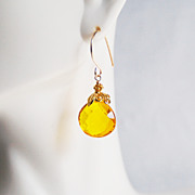 AAA Yellow Quartz Dangle Drop Earrings- Wedding Jewelry- Bridal Accessories-Mother's Day- Spring Earrings