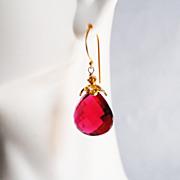 AAA Rubelite Quartz Dangle Drop Earrings- Wedding Jewelry- Bridal Accessories-Mother's Day- Spring Earrings