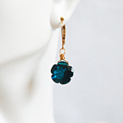 Teal Blue Carved Flower Briolette Dangle Drop Earrings- Wedding Jewelry -Bridal Accessories- Mother's Day Earrings-Mother's Day jewelry
