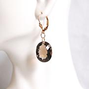 Gorgeous 27.20 ct Smoky Quartz Dangle Drop Earrings - Wedding Jewelry- Bridal accessories- Fine Jewelry