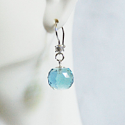 Huge 27.10 ct Sky Blue Topaz ball Briolette Dangle Drop Earring- Fine Jewelry-Wedding Jewelry-Bridal Accessories-Topaz Jewelry-Topaz Earring