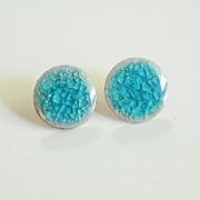 Post Earrings -Turquoise Green Blue Handmade Crackle Porcelain Post Earrings - Porcelain Post Earrings - Stud Earrings - Summer Jewelry