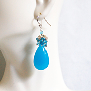 Blue Cluster Earrings -Neon Blue Chalcedony And Blue Quartz Cluster Earrings-Dangle Drop Earrings -Blue Earrings -Chalcedony Earrings