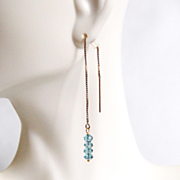 Ear Threads Earrings -London Blue Topaz Ear Threader Earrings - Gold Filled Ear threader Earrings - Dangle Drop Earrings- Ear Theader