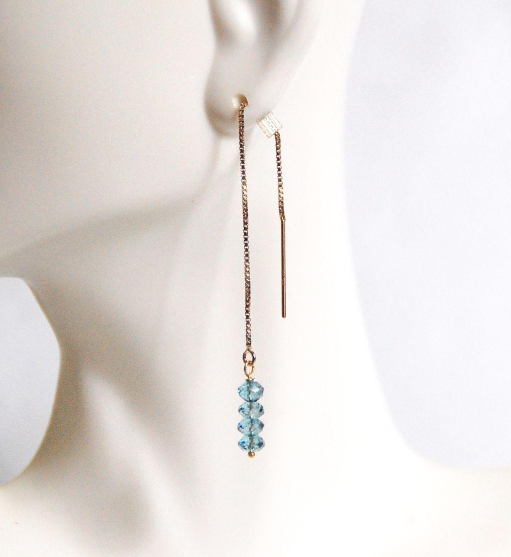 Ear Threads Earrings London Blue Topaz Ear Threader Earrings  Gold Filled  Ear Threader Earrings  Dangle Drop Earrings Ear Theader