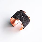 Stingray Cuff Bracelet -Genuine Brown Stingray Leather Cuff Bracelet - Cuff Bracelet- Leather Bracelet- Copper Cuff Bracelet