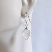 Carved Rock Crystal Quartz Dangle Drop earrings- Wedding Jewelry- Bridal Accessories- Bridal Jewelry