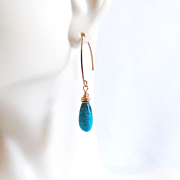 Smooth Turquoise Briolettes Earrings- Turquoise Earrings..- Turquoise Dangle Drop Earrings