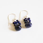 September Birthstone Earrings- Birthstone Jewelry - Dark Blue Sapphire Dangle Drop Earrings -Cluster Earrings- Blue earrings.