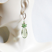 Green Amethyst Quartz and Chhrysoprase Cluster dangle Drop Earrings- Green earringsDangle Earrings- Cluster Earrings