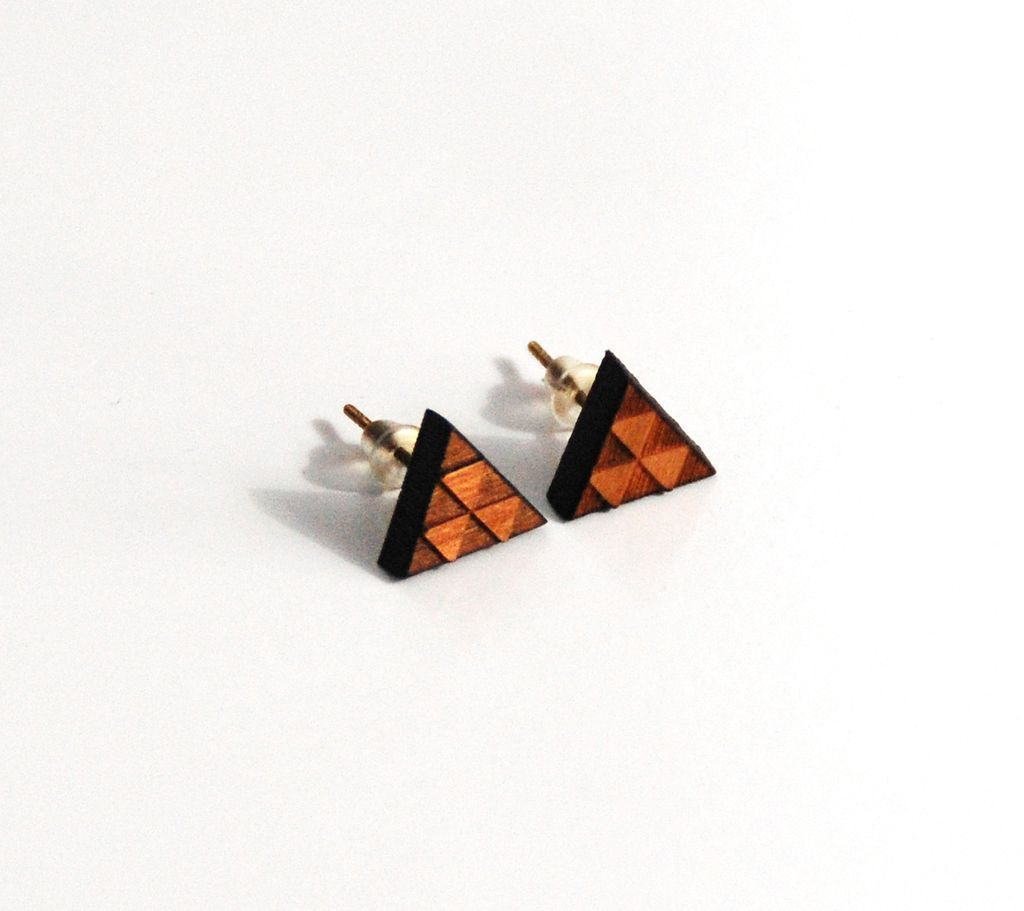 Cherry Wood Triangle Post Earrings Men S And Women Ferozasjewelry Ruby Lane