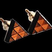 Cherry Wood Triangle Post Earrings- Men's And Women's Post Earrings- Wood Stud Earrings- Men's Jewelry-men's Earrings- Unisex Earrings