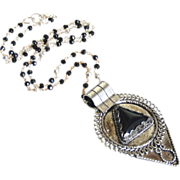 Statement Necklace- Locket Necklace-Tibetan-Style Teardrop Pendant on Spinel and Pyrite Rosary Style Beaded Chain necklace-Pendant Necklace-