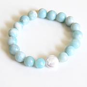 Natural Amazonite Bracelet- Beaded Bracelet- cultured Fresh water Pearl Bracelet- Women's Bracelet- Mother's Day Bracelet- For her- For Mom-Gift Ideas