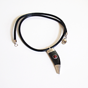 Black leather necklace with Black Tibetan Horn pendant -Men's Necklace- men's Jewelry- Leather Necklace-Bone Pendant Necklace-Unisex jewelry
