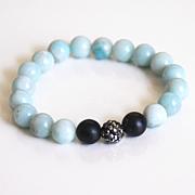 Natural Amazonite Bracelet- Beaded Bracelet-Black Onyx Bracelet- Women's Bracelet- Mother's Day Bracelet- For her-Mother's Day-Gift Ideas
