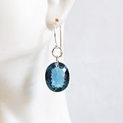 Top Grade 26.2 ct. London Blue Topaz Dangle Drop Earrings- Fine Jewelry-Wedding Jewelry- Bridal Jewelry -Bridal Accessories- Topaz E