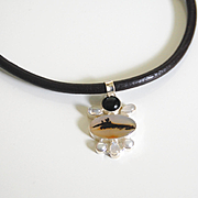 Genuine Leather choker necklace With Scenic Dendritic Opal- Agate- Culturesd Fresh Water Pearl- Onyx Sterling Silver Pendant - Leather Pendant Necklace- Collar-
