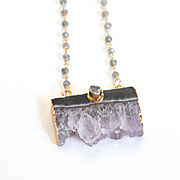 Amethyst Druzy Pendant With Labradorite Rosary Chain- Druzy Necklace- Pendant Necklace -Amethyst Slice Necklace With Labradorite Chain