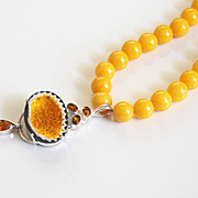 Statement Necklace -31.73 ct. Natural yellow Geode Druzy citrine sterling silver Pendant & yellow Mashan jade Necklace- Beaded Necklace
