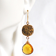 Gold Druzy Quartz And Honey color Heart Briolette Dangle Drop Earrings- Gold Earrings- Druzy Earrings- Holiday Gift for Her- Dangle Earrings