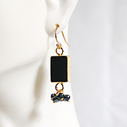 Natural Druzy Geode Gold Plated Black Agate Slice And Pyrite Cluster Earring- Dangle Drop Earring- Black Earring- Gift For Her- Holiday Gift