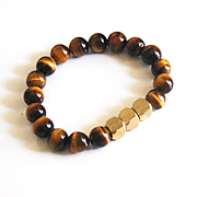 Men's Tiger Eye and Brass Bead Bracelets- Men's Bracelets - Men's Jewelry -Beaded bracelet- Unisex bracelets--Stretch Bracelet- Gift For Him