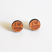 Wood Earring- Men's Post Earrings- Men's Stud Earrings- Men's Jewelry-men's Cherry Wood Earrings- Unisex Earring -Men's Accessories- For Him