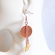 Rose Gold Earrings- Citrine And Rose gold Disc Dangle Drop Earrings- Rose Gold Jewelry- For her- Gift Ideas- Hammered Disc Rose Gold Earring