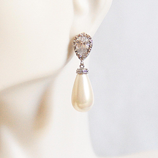 Wedding Jewelry - Rhodium Plated CZ Drop with Shell pearl Earrings - Bridal Earrings - Bridesmaids Gift- Dangle Drop Earrings-For Her