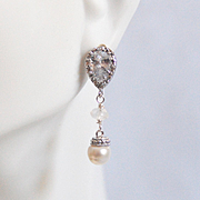 Rhodium Plated Cubic Zirconia Drop with pearl And Moonstone Earrings- Wedding Jewelry - Bridal Earrings - Bridesmaids Gift- Dangle Earrings