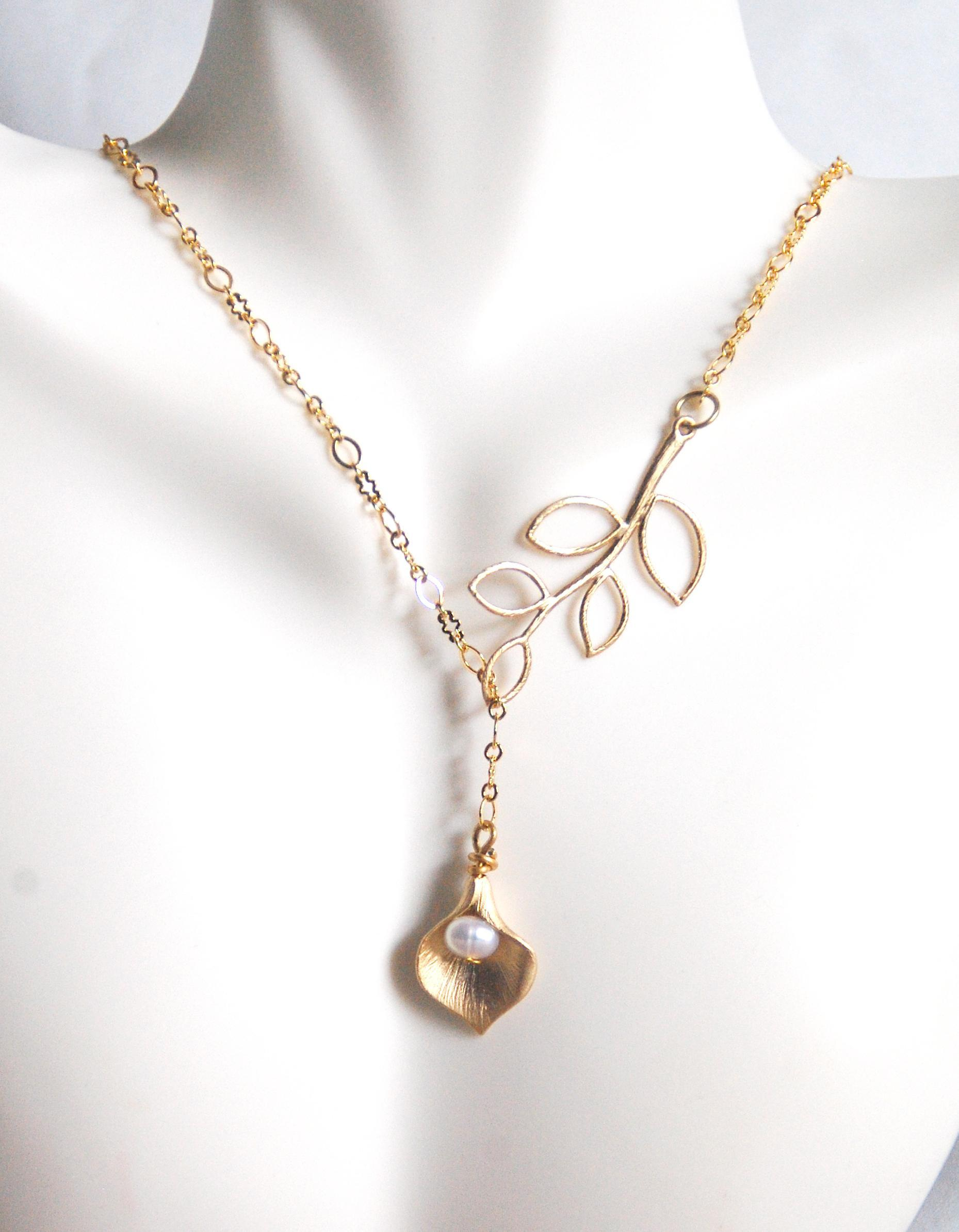 Gold lariat necklace pearl calla lily and leaf lariat necklace from