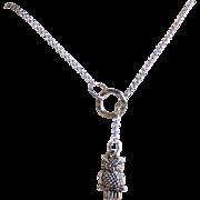 Lariat necklace- lariat Jewelry- Owl Necklace- Owl Jewelry- Silver Necklace- Silver Lariat Necklace- Silver Jewelry-Small owl Lariat Jewelry