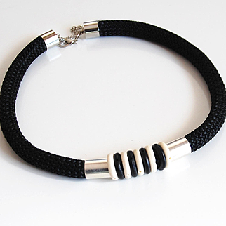 Rope necklace- Braided Trim Black Rope Cord Choker necklace- Rope jewelry -Black cord With Black White Bone bead Necklace- Cord Jewelry