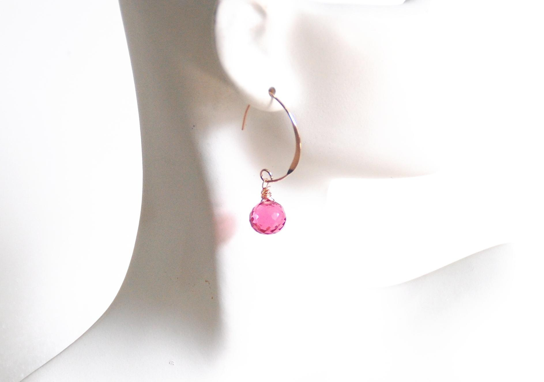 Hot Pink Quartz Dangle Drop Rose Gold Earrings- Pink Earrings- Wedding Jewelry- Bridal Jewelry- Rose Gold Jewelry- Christmas Gift- For Her