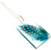 Resin Necklace- Resin Jewelry- Resin And feather Necklace-Feather pendant-Feather resin pendant- Gift for Her-Blue feather pendant Necklace