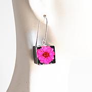 Resin Dried Flower Cube Earrings- Resin Earrings-Resin jewelry-Resin Flower earrings-Pink Flower Square Earrings- Mother's Day Gift For Her